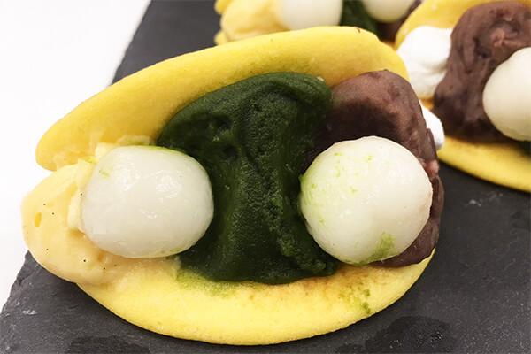『京都・東山茶寮』の宇治抹茶 白玉とカスタードサンドどらやき